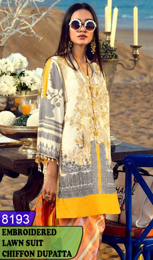 WYAJ-8193 - NECK EMBROIDERED DESIGNER 3PC LAWN SUIT WITH CHIFFON DUPATTA - SUMMER COLLECTION 2020 / 2021