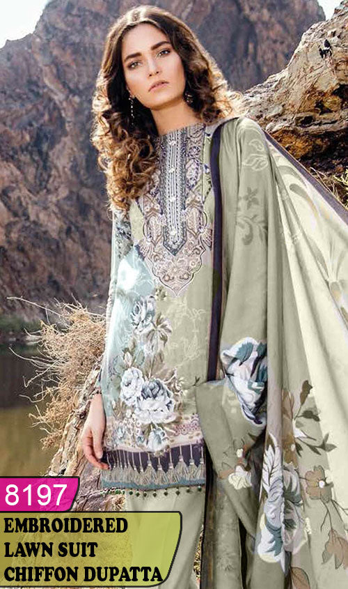 WYAJ-8197 - FRONT EMBROIDERED DESIGNER 3PC LAWN SUIT WITH CHIFFON DUPATTA - SUMMER COLLECTION 2020 / 2021