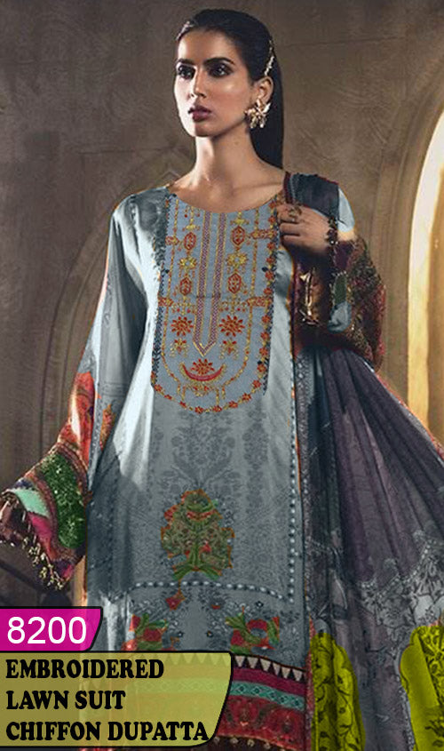 WYAJ-8200 - NECK EMBROIDERED DESIGNER 3PC LAWN SUIT WITH CHIFFON DUPATTA - SUMMER COLLECTION 2020 / 2021