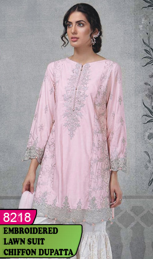 WYAJ-8218 - NECK EMBROIDERED DESIGNER 3PC LAWN SUIT WITH CHIFFON DUPATTA - SUMMER COLLECTION 2020 / 2021