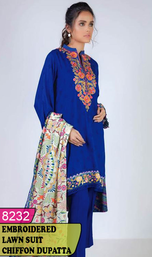 WYAJ-8232 - NECK EMBROIDERED DESIGNER 3PC LAWN SUIT WITH CHIFFON DUPATTA - SUMMER COLLECTION 2020 / 2021