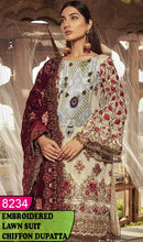 Load image into Gallery viewer, WYAJ-8234 - NECK EMBROIDERED DESIGNER 3PC LAWN SUIT WITH CHIFFON DUPATTA - SUMMER COLLECTION 2020 / 2021