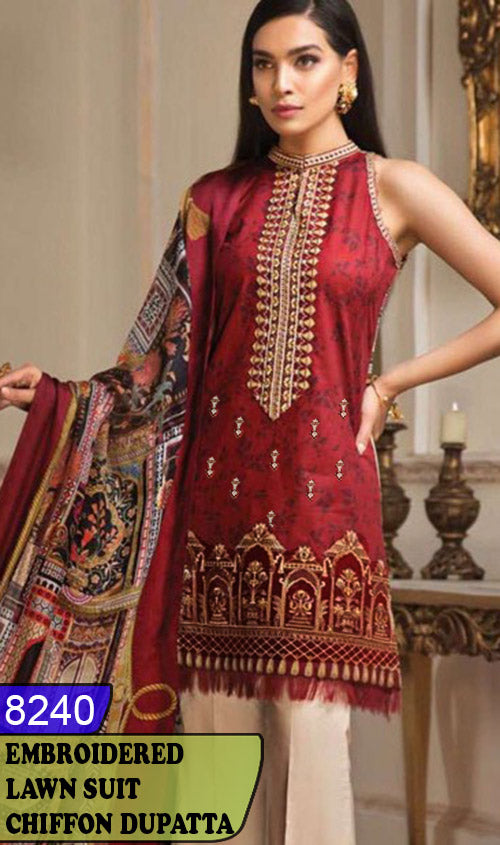 WYAJ-8240 - FRONT EMBROIDERED DESIGNER 3PC LAWN SUIT WITH CHIFFON DUPATTA - SUMMER COLLECTION 2020 / 2021