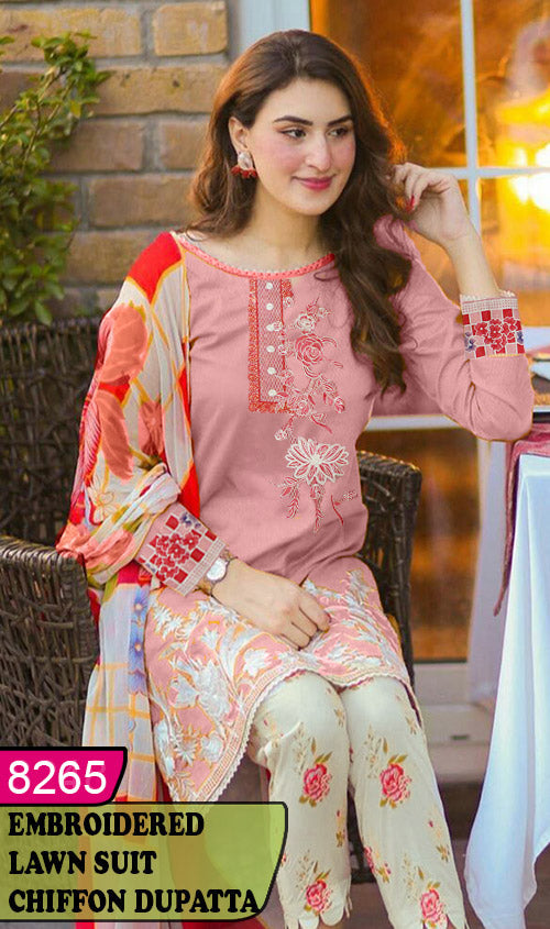 WYAJ-8265 - FRONT EMBROIDERED DESIGNER 3PC LAWN SUIT WITH CHIFFON DUPATTA - SUMMER COLLECTION 2020 / 2021