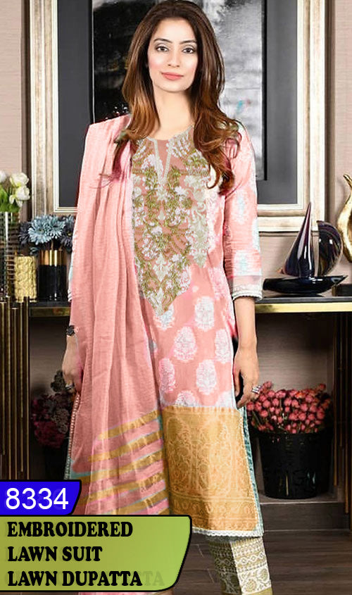WYAJ-8334 - NECK EMBROIDERED DESIGNER 3PC LAWN SUIT WITH LAWN DUPATTA - SUMMER COLLECTION 2020 / 2021