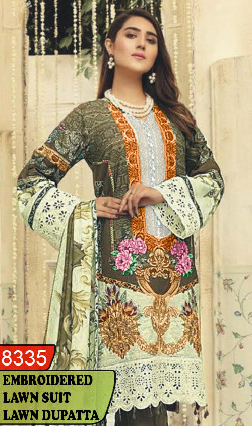 WYAJ-8335 - NECK EMBROIDERED DESIGNER 3PC LAWN SUIT WITH LAWN DUPATTA - SUMMER COLLECTION 2020 / 2021