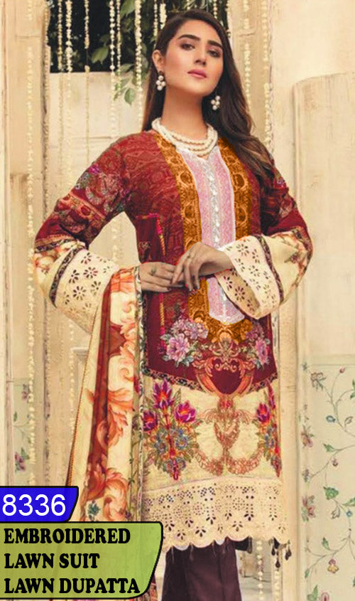 WYAJ-8336 - NECK EMBROIDERED DESIGNER 3PC LAWN SUIT WITH LAWN DUPATTA - SUMMER COLLECTION 2020 / 2021