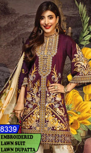 WYAJ-8339 - NECK EMBROIDERED DESIGNER 3PC LAWN SUIT WITH LAWN DUPATTA - SUMMER COLLECTION 2020 / 2021