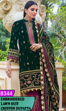 Load image into Gallery viewer, WYAJ-8344 - NECK EMBROIDERED DESIGNER 3PC LAWN SUIT WITH CHIFFON DUPATTA - SUMMER COLLECTION 2020 / 2021
