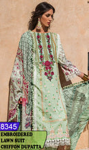 Load image into Gallery viewer, WYAJ-8345 - NECK EMBROIDERED DESIGNER 3PC LAWN SUIT WITH CHIFFON DUPATTA - SUMMER COLLECTION 2020 / 2021