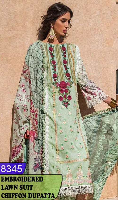 WYAJ-8345 - NECK EMBROIDERED DESIGNER 3PC LAWN SUIT WITH CHIFFON DUPATTA - SUMMER COLLECTION 2020 / 2021