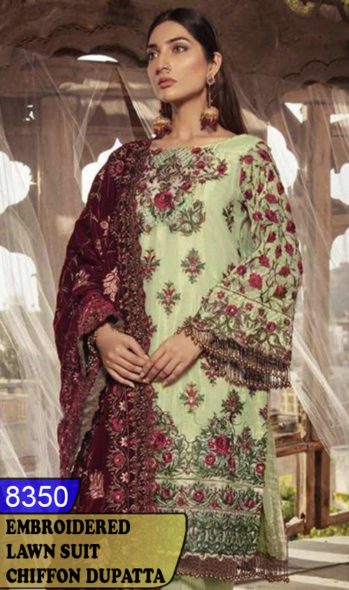 WYAJ-8350 - NECK EMBROIDERED DESIGNER 3PC LAWN SUIT WITH CHIFFON DUPATTA - SUMMER COLLECTION 2020 / 2021
