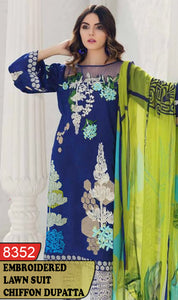 WYAJ-8352 - FRONT EMBROIDERED DESIGNER 3PC LAWN SUIT WITH CHIFFON DUPATTA - SUMMER COLLECTION 2020 / 2021