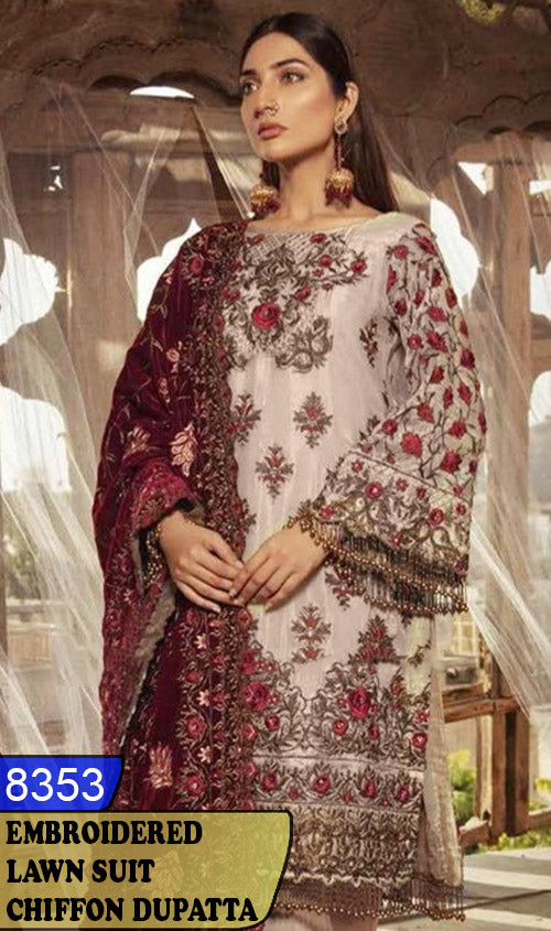 WYAJ-8353 - NECK EMBROIDERED DESIGNER 3PC LAWN SUIT WITH CHIFFON DUPATTA - SUMMER COLLECTION 2020 / 2021