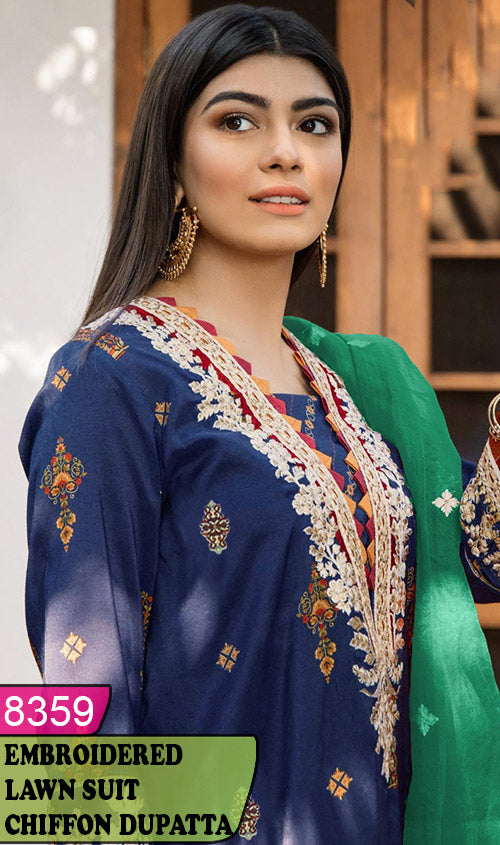 WYAJ-8359 - NECK EMBROIDERED DESIGNER 3PC LAWN SUIT WITH CHIFFON DUPATTA - SUMMER COLLECTION 2020 / 2021
