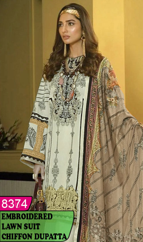 WYAJ-8374 - NECK EMBROIDERED DESIGNER 3PC LAWN SUIT WITH CHIFFON DUPATTA - SUMMER COLLECTION 2020 / 2021