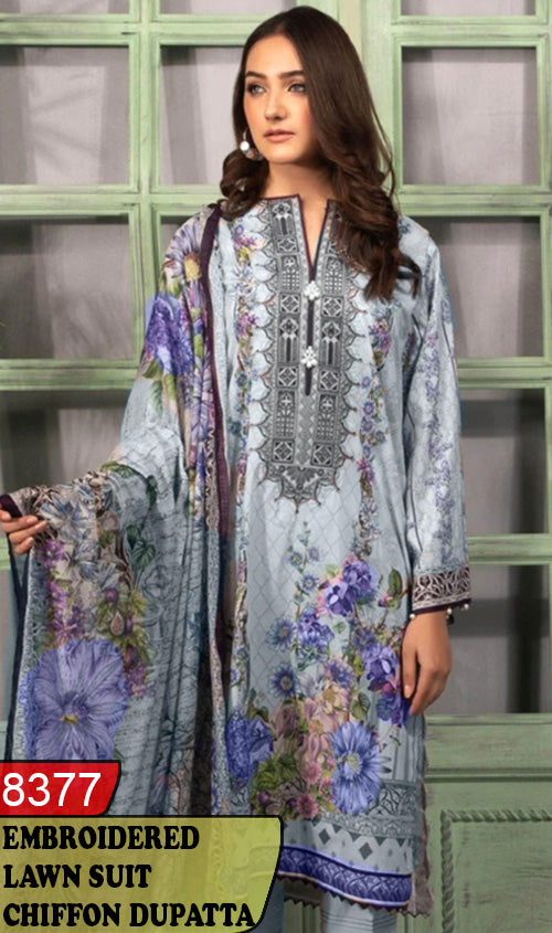WYAJ-8377 - NECK EMBROIDERED DESIGNER 3PC LAWN SUIT WITH CHIFFON DUPATTA - SUMMER COLLECTION 2020 / 2021