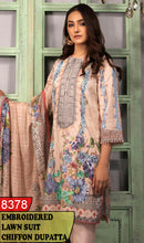 Load image into Gallery viewer, WYAJ-8378 - NECK EMBROIDERED DESIGNER 3PC LAWN SUIT WITH CHIFFON DUPATTA - SUMMER COLLECTION 2020 / 2021