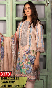 WYAJ-8378 - NECK EMBROIDERED DESIGNER 3PC LAWN SUIT WITH CHIFFON DUPATTA - SUMMER COLLECTION 2020 / 2021