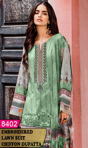 WYAJ-8402 - NECK EMBROIDERED DESIGNER 3PC LAWN SUIT WITH CHIFFON DUPATTA - SUMMER COLLECTION 2020 / 2021