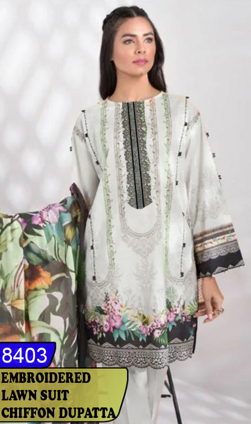WYAJ-8403 - NECK EMBROIDERED DESIGNER 3PC LAWN SUIT WITH CHIFFON DUPATTA - SUMMER COLLECTION 2020 / 2021