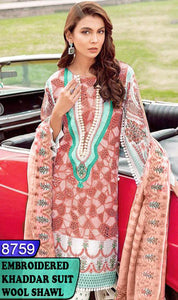 WYAJ-8759 - NECK EMBROIDERED DESIGNER 3PC KHADDAR SUIT WITH WOOL SHAWL - WINTER COLLECTION 2020 / 2021