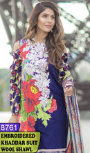 Load image into Gallery viewer, WYAJ-8761 - NECK EMBROIDERED DESIGNER 3PC KHADDAR SUIT WITH WOOL SHAWL - WINTER COLLECTION 2020 / 2021