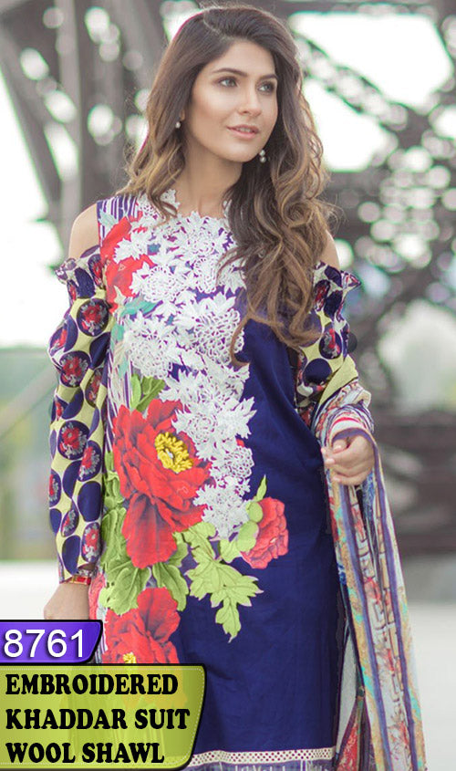WYAJ-8761 - NECK EMBROIDERED DESIGNER 3PC KHADDAR SUIT WITH WOOL SHAWL - WINTER COLLECTION 2020 / 2021