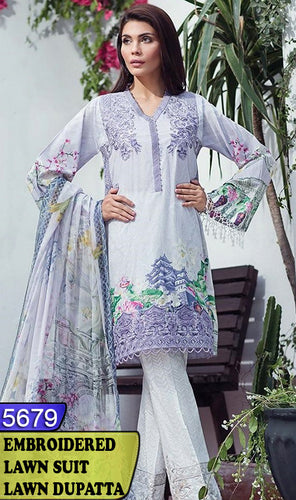 WYAO-5679 - FULL EMBROIDERED DESIGNER 3PC LAWN SUIT WITH LAWN DUPATTA - SUMMER COLLECTION 2018 / 2019