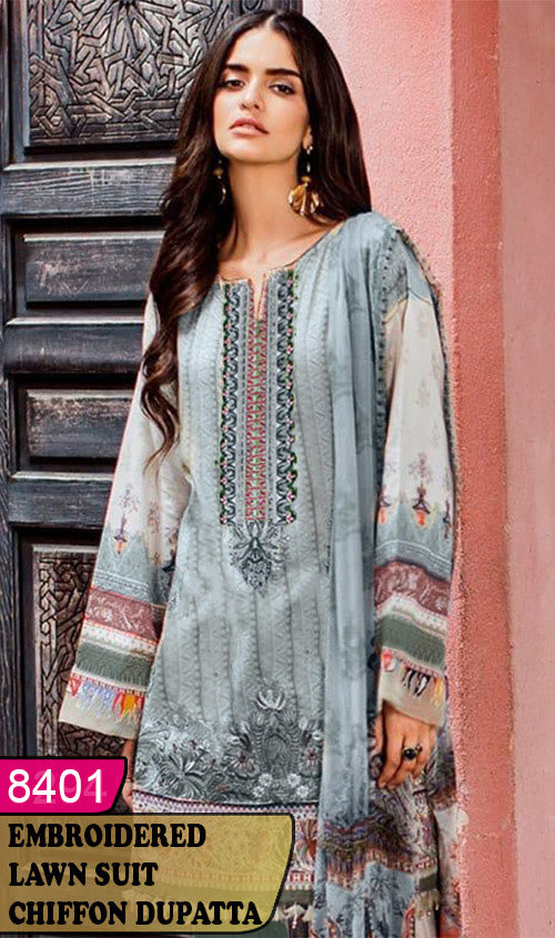 WYAJ-8401 - NECK EMBROIDERED DESIGNER 3PC LAWN SUIT WITH CHIFFON DUPATTA - SUMMER COLLECTION 2020 / 2021