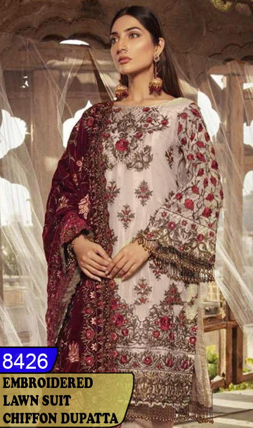 WYBA-8426 - NECK EMBROIDERED DESIGNER 3PC LAWN SUIT WITH CHIFFON DUPATTA - SUMMER COLLECTION 2020 / 2021