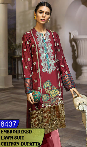 WYBA-8437 - NECK EMBROIDERED DESIGNER 3PC LAWN SUIT WITH CHIFFON DUPATTA - SUMMER COLLECTION 2020 / 2021