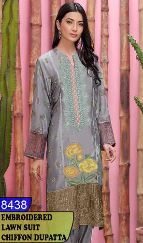 WYBA-8438 - NECK EMBROIDERED DESIGNER 3PC LAWN SUIT WITH CHIFFON DUPATTA - SUMMER COLLECTION 2020 / 2021