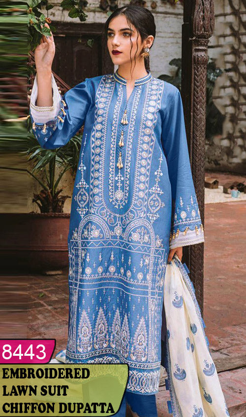 WYBA-8443 - NECK EMBROIDERED DESIGNER 3PC LAWN SUIT WITH CHIFFON DUPATTA - SUMMER COLLECTION 2020 / 2021