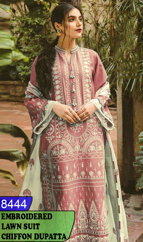 WYBA-8444 - NECK EMBROIDERED DESIGNER 3PC LAWN SUIT WITH CHIFFON DUPATTA - SUMMER COLLECTION 2020 / 2021