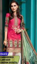 Load image into Gallery viewer, WYBA-8449 - NECK EMBROIDERED DESIGNER 3PC LAWN SUIT WITH CHIFFON DUPATTA - SUMMER COLLECTION 2020 / 2021