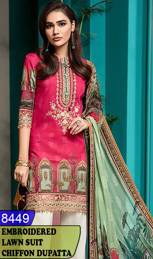 WYBA-8449 - NECK EMBROIDERED DESIGNER 3PC LAWN SUIT WITH CHIFFON DUPATTA - SUMMER COLLECTION 2020 / 2021