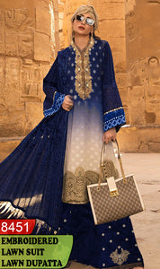 WYBA-8451 - NECK EMBROIDERED DESIGNER 3PC LAWN SUIT WITH LAWN DUPATTA - SUMMER COLLECTION 2020 / 2021
