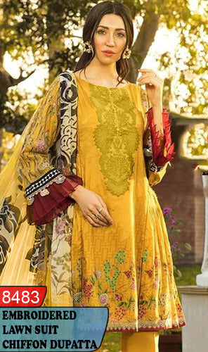 WYBA-8483 - NECK EMBROIDERED DESIGNER 3PC LAWN SUIT WITH CHIFFON DUPATTA - SUMMER COLLECTION 2020 / 2021