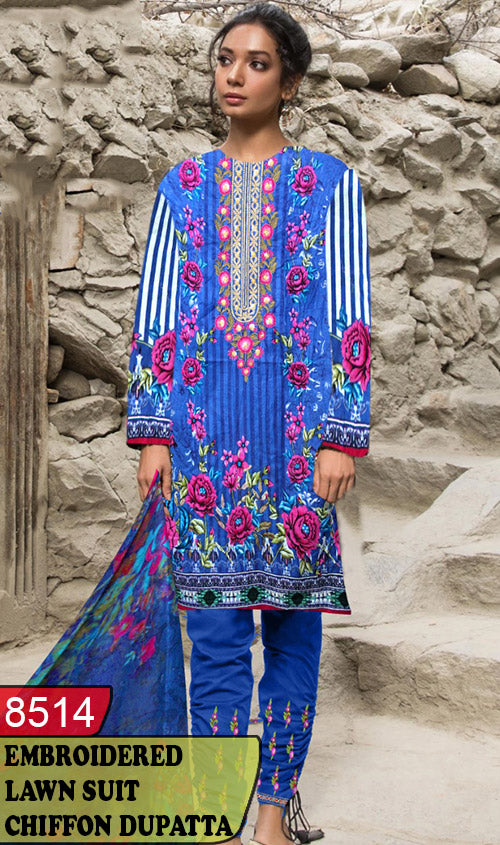 WYBA-8514 - NECK EMBROIDERED DESIGNER 3PC LAWN SUIT WITH CHIFFON DUPATTA - SUMMER COLLECTION 2020 / 2021