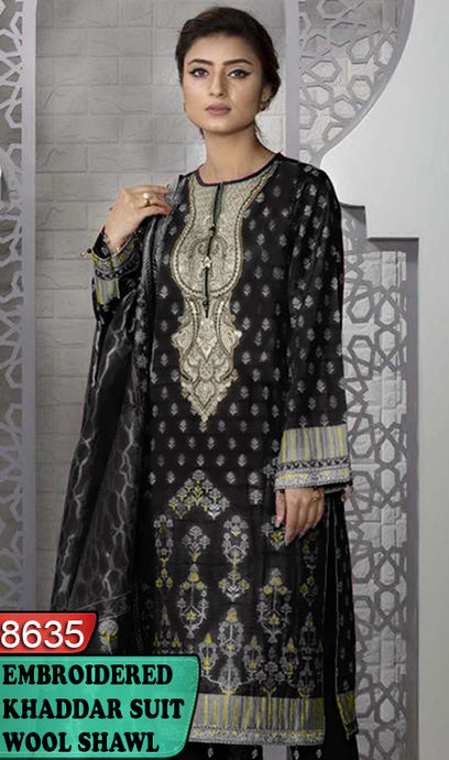 WYBA-8635 - NECK EMBROIDERED DESIGNER 3PC KHADDAR SUIT WITH WOOL SHAWL DUPATTA - WINTER COLLECTION 2020 / 2021