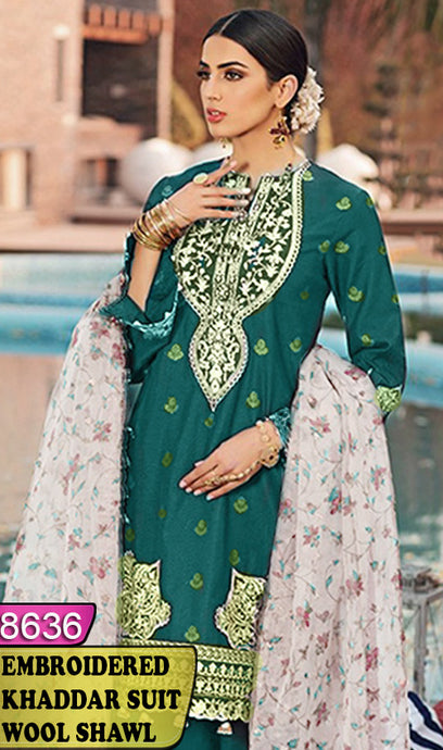 WYBA-8636 - NECK EMBROIDERED DESIGNER 3PC KHADDAR SUIT WITH WOOL SHAWL DUPATTA - WINTER COLLECTION 2020 / 2021