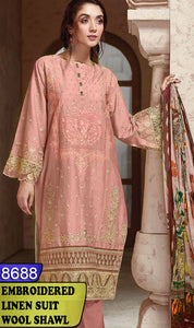 WYBA-8688 - NECK EMBROIDERED DESIGNER 3PC LINEN SUIT WITH WOOL SHAWL - WINTER COLLECTION 2020 / 2021