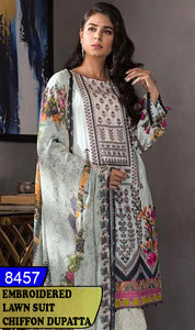 WYFD-8457 - FRONT EMBROIDERED DESIGNER 3PC LAWN SUIT WITH CHIFFON DUPATTA - SUMMER COLLECTION 2020 / 2021