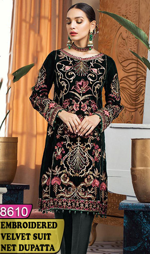 WYFY-8610 - FULL EMBROIDERED DESIGNER 3PC VELVET SUIT WITH NET DUPATTA - WINTER COLLECTION 2020/2021