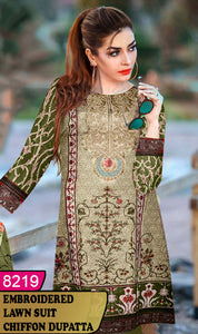 WYHS-8219 - NECK EMBROIDERED DESIGNER 3PC LAWN SUIT WITH CHIFFON DUPATTA - SUMMER COLLECTION 2020 / 2021