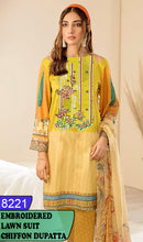 Load image into Gallery viewer, WYHS-8221 - NECK EMBROIDERED DESIGNER 3PC LAWN SUIT WITH CHIFFON DUPATTA - SUMMER COLLECTION 2020 / 2021