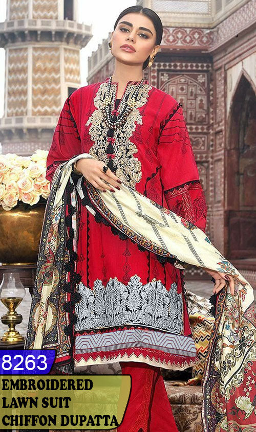 WYHS-8263 - NECK EMBROIDERED DESIGNER 3PC LAWN SUIT WITH CHIFFON DUPATTA - SUMMER COLLECTION 2020 / 2021