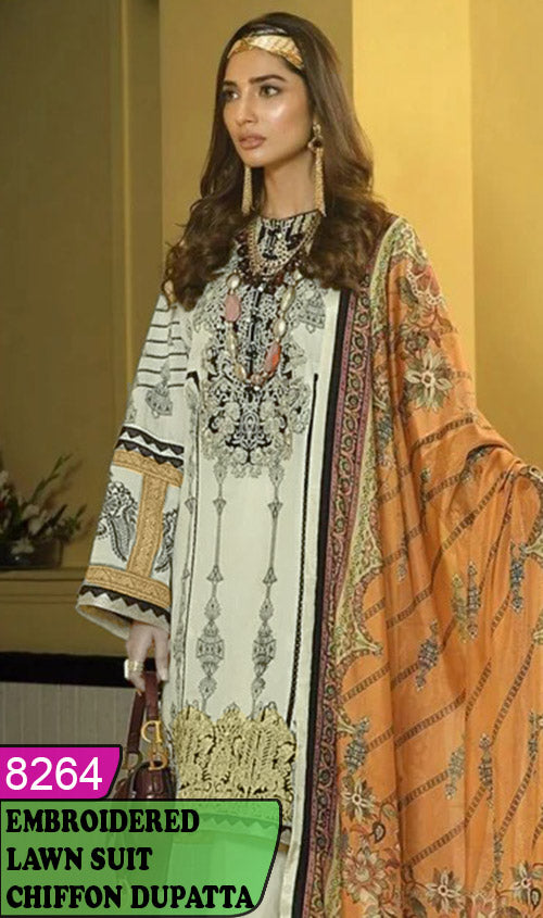 WYHS-8264 - NECK EMBROIDERED DESIGNER 3PC LAWN SUIT WITH CHIFFON DUPATTA - SUMMER COLLECTION 2020 / 2021