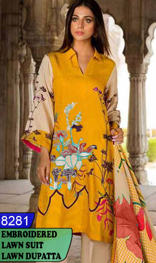 WYHS-8281 - EMBROIDERED DESIGNER 3PC LAWN SUIT WITH LAWN DUPATTA - SUMMER COLLECTION 2020 / 2021